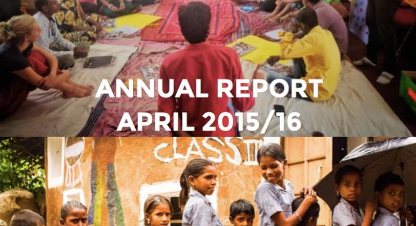 Crop of Educate for Life's Annual Report 2015/16 cover